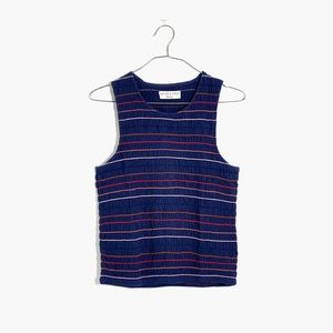 MADEWELL | Navy Rainbow Stitched Smocked Tank Top